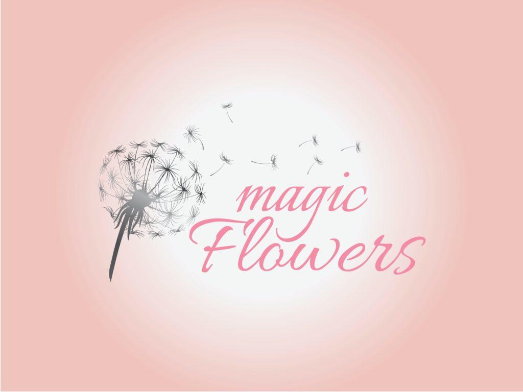 Logo von Lidijas Magic Flowers mit Pusteblume vor rosa Hintergrund